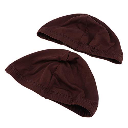 SM SunniMix 2x Casquettes De Perruque De Dôme Pour La Fabrication De Perruques Headwrap Cap De Tissage Respirant élastique - Marron