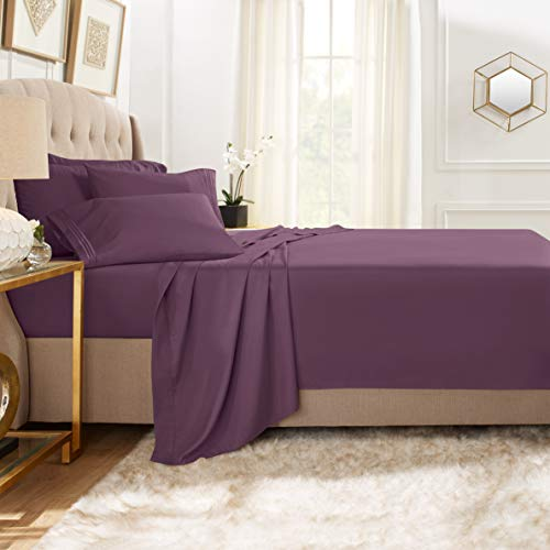 Clara Clark Premier 1800 Collection Bed Sheet Set with Extra Pillowcases Wrinkle, Fade & Stain Resistant, Flex-Top King, Eggplant Purple