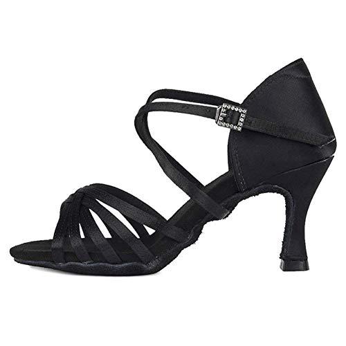 PIVFEDQX Zapatos de Baile Zapatos Latinos Zapatos de Baile de salón para Mujer Tacones Satén de Seda Salsa Bachata Zapatos de Baile, ZS213 / XGG (Color: 2 95 Inch Black 213, Size: 3.5 UK)