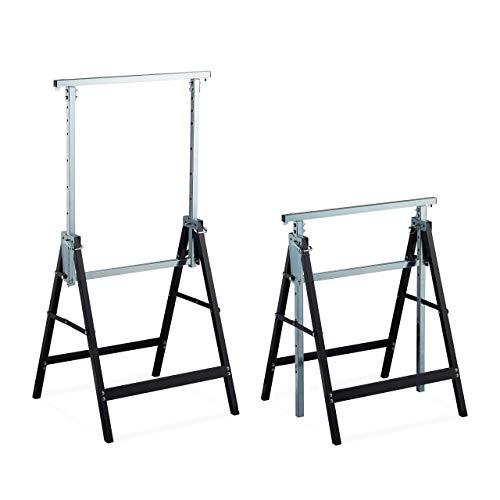 Relaxdays Klappbock, 2er Set, stabiler Gerüstbock, bis 200kg, 7-fach höhenverstellbar 80-130 cm, faltbar, schwarz-silber