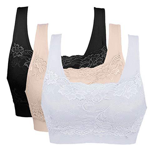 Litthing Underwear Damen Sport BH Spitze Büstenhalter 1/2/3er Pack Atmungsaktiver Bequem für Yoga Fitness-Training (Schwarz+Weiß+Hautfarbe, XL)