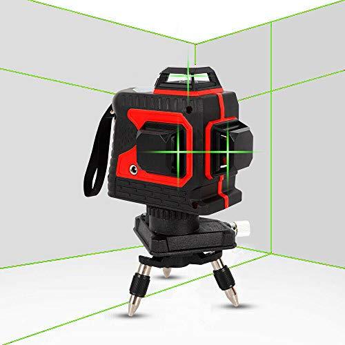 Kruislijnlaser 25 m, 360 laserniveau's zelfbalancerende 3D-12 lijnen, IP 54 zelfnivellerende verticale en horizontale lijn Rode schaal groen licht