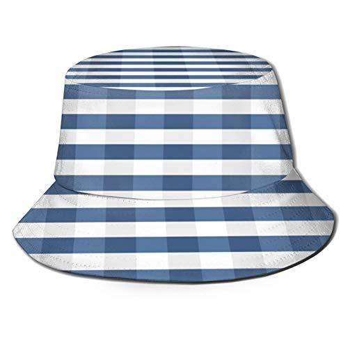 PUIO Angelhut Fischerhut,Nahtloses Muster Trendy Stylish Cell Gingham,Bonie Safari Sonnenhüte zum Wandern im Freien für Männer und Frauen