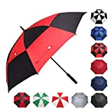 BAGAIL Golf Umbrella 68/62/58 Inch Large Oversize Double Canopy Vented Automatic Open Stick Umbrellas for Men and Women(Black/Red,62 inch)