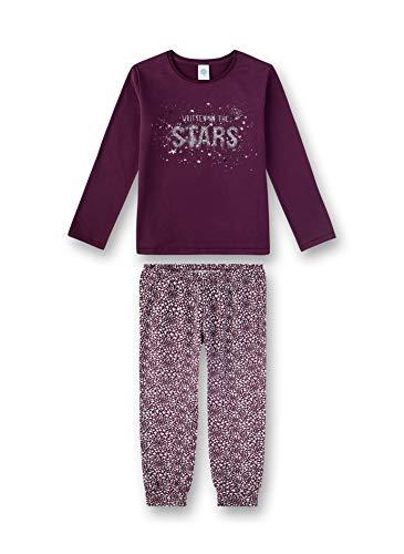 Sanetta Mädchen Pyjama Zweiteiliger Schlafanzug, Violett (Dark Purple 6140), (Herstellergröße: 128)