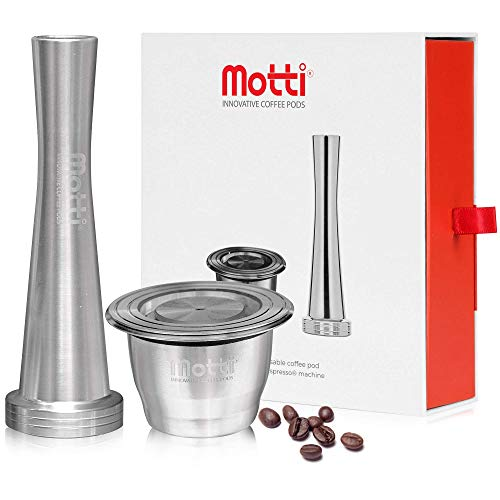 MOTTI? Reusable Coffee Pods ? Premium Refillable Coffee Capsules Compatible with Nespresso Machines ? Stainless Steel Coffee Pod, Tamper and Brush ? Complete DIY Coffee Pod Kit ? Dishwasher Compatible