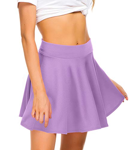EXCHIC Women Stretch Waist Flared Mini Skater Skirt Casual Pleated Skirts (M, Mini-Lilac)