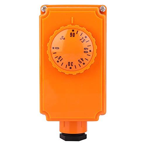 Weikeya Controlador de Temperatura del Tubo de Agua Caliente Caliente, termostato de Salida Digital 220V 0-90 ° C G1 / 2 Interfaz de Hilo Masculino Metal Hecho