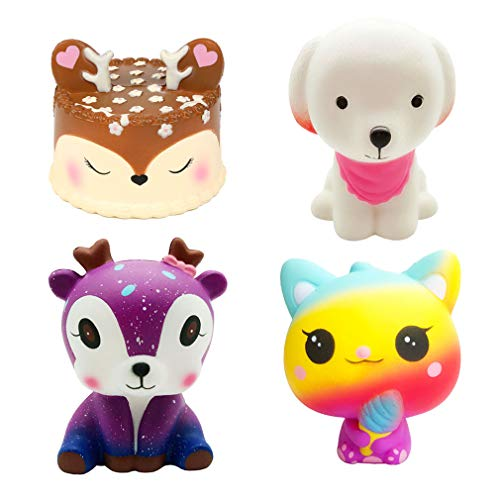 Kayoon 4 Pcs Jumbo Squishies Slow Rising Toys Kawaii Deer Cake,Pink Dog,Galaxy Deer,Ice Cream Cat Squishys Pack for Kids Stress Toy and Party Favors