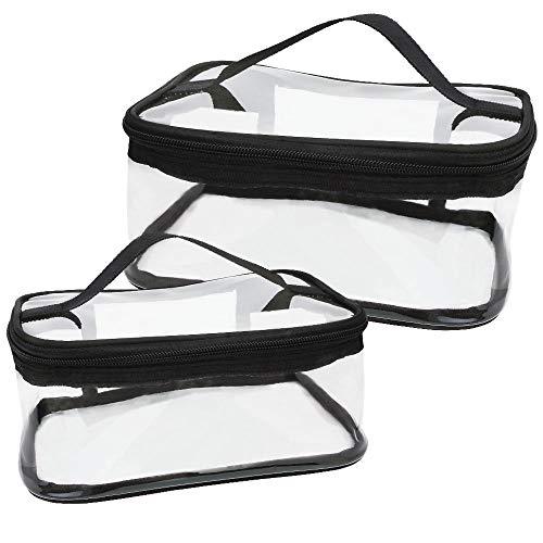DECARETA 2 PCS Trousse de Maquillage Transparent Trousse de Toilette de Voyage en PVC Sac Cosmétique de Voyage Imperméable pour Brosse à Dents, Dentifrice, Shampoing, Savon(Grand et Petit)