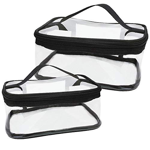 DECARETA 2 Stück Kulturbeutel Transparent Kosmetiktasche Wasserdicht PVC Make-Up Tasche 2 Verschiedene Größen Handgepäck Kulturtasche Durchsichtig Waschbeutel mit Griffe für Damen Herren Reise