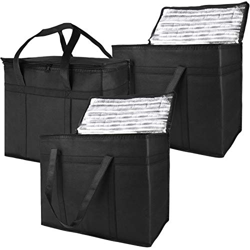 Tote Bag Grocery Carrying Handle 3PACK XL Thermal Storage Organizer Insulated Reusable Kitchen Holder Groceries Bags Foldable for Car Trunk Shopping Collapsible Carrier Hot Cold Frozen Food Transport
