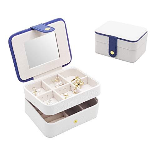 Joyero de viaje, caja de joyería de doble capa, simple, portátil, para pendientes, pulsera, almacenamiento, para cosméticos, caja de cosméticos
