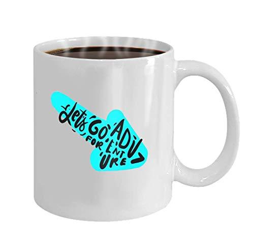Taza divertida de Lsjuee, taza de cerámica blanca, taza de café (impresa en dos lados), regalo perfecto para amantes/familiares/amigos, vamos a la aventura, letras a mano para su diseño, ilustra