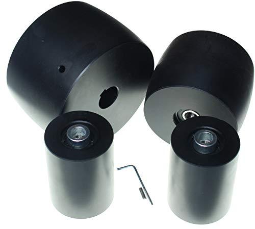 (NY5-24-3 Zoll Band) Bandschleifer Rad-Set für Messerschleifer 130 mm Antriebs-24 mm - 80 mm breit - Schaft 100 mm Schiene 60 mm Spanngurt - für 7,6 cm Riemen