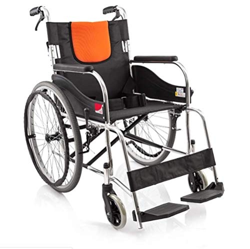 GBX@I Silla de ruedas plegable ligera de aleación de aluminio Silla de ruedas manual, silla de ruedas para discapacitados Inflable gratis Silla de ruedas