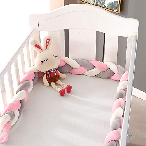 2M Baby Bed Crib Bumpers Knotted Braided Plush Nursery Cradle Decor Cot Bumpers Soft Breathable Crib Side Protector Sleep Pillow Cushion for Newborn,Pink