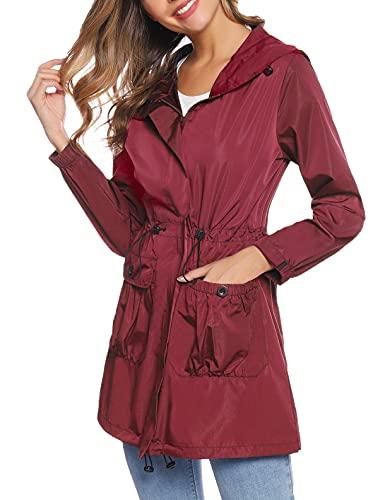 NC Chaqueta Cortavientos Impermeable Mujer, Cortavientos ligero de secado rápido para, Abrigos Impermeable Chubasquero multifuncional con capucha Poncho lluvia(Vino Rojo,L)