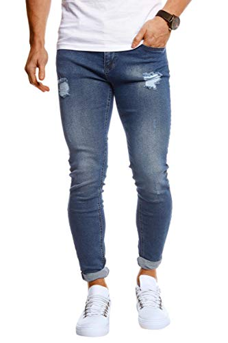 Leif Nelson Herren Jeans Hose Slim Fit Stretch Jeanshose für Männer LN1006 Dunkel Blau W33/L30