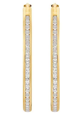 CHRIST Gold Damen-Creole 375er Gelbgold Zirkonia One Size 86994631