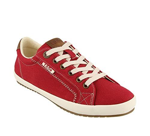 Taos Footwear Women's Star Burst Red/Tan Sneaker 8 M US