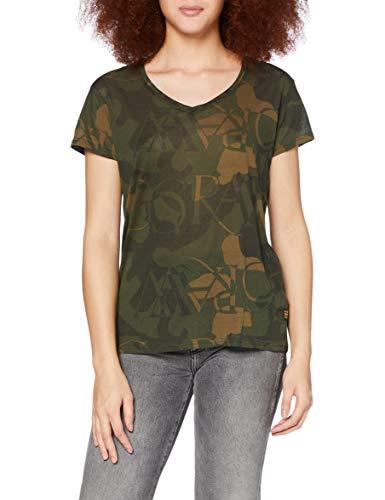 G-STAR RAW Gyre Straigth Camiseta, Wild Olive Deco C565-c108-Figura Decorativa de Camuflaje, XS para Mujer