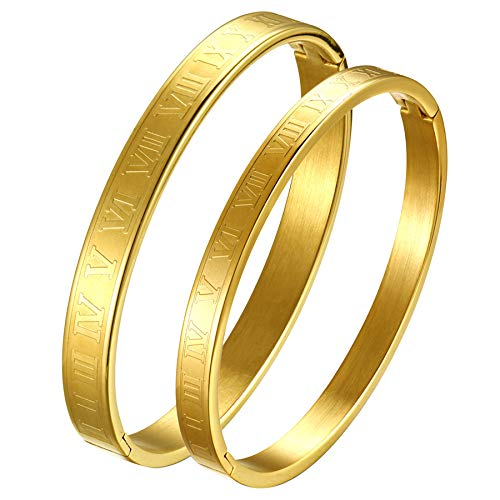 OIDEA Pulseras de oro para hombre y mujer, pulsera con números romanos, pulsera con inspiración, pulsera de acero inoxidable, regalo unisex grabado personalizado