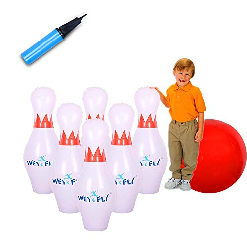 "WEY&FLY Giant Inflatable Bowling Game Set - Jumbo Size - 6 27"" Pins and 1 24"" Ball and 1 Pump, Giant Indoor and Outdoor Game, Fun for Kids of All Ages, A Great Party Game for Kids and Family"