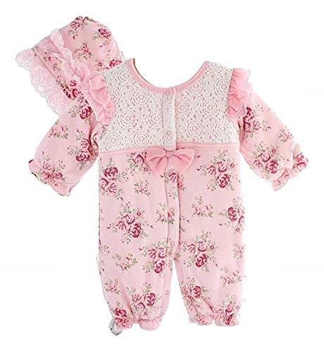 3-6 Mesi - Tutina neonata Bimba Cotone - Manica Lunga - Elegante - Completo - cuffietta - Cappellino - Fiori - Ricamata - Colore Rosa - Abbigliamento Bambino Prima Infanzia