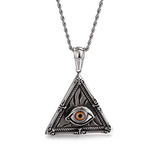 FJ Egypt Pyramid Triangle Halskette Power Silver Steel Pendnat, ägyptisches allsehendes Auge Gottes, mit 60 CM Stahlkielkette