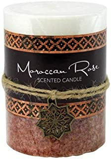 Taczotech Palm Wax Moroccan Rose Pillar Candle 3X4
