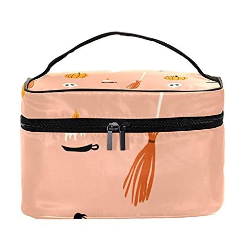 Bolsas de maquillaje para mujeres y nis Estuche organizador de cosmicos de mano bolsa portil de viaje Neceser Happy Halloween Full Moon Pumpkin, Multicolor 8 Neceser