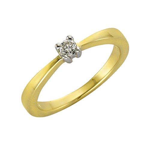Diamonds by Ellen K. Damen Ring 9 Karat 375 Gold gelb teilrhodiniert Diamant 0.10 ct Brillantschliff weiß Gr. 60 (19.1) 360370046-2-019