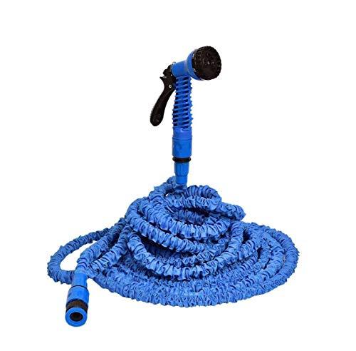 Roem huis Tuinslang Waterpistool Uitgebreide tuin Slang, 3x Uitbreidbare Flexibele Waterpijp, Lichtgewicht 8 Functie Spuitpistool, Gemakkelijk op te slaan, Blauw Multifunctioneel Waterpistool