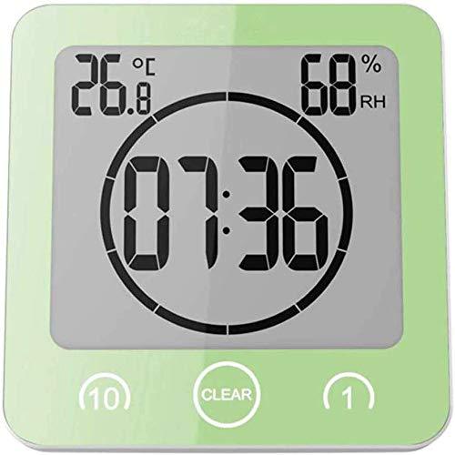 PrideSong Reloj despertador digital LED grande con indicador de temperatura, impermeable, cuenta regresiva, color verde