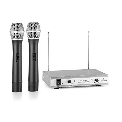 auna VHF-2-H Set micrófonos de mano inalámbricos VHF de 2 canales (alcance hasta 100 metros, incluye receptor y 2 micro dinámicos) - plateado
