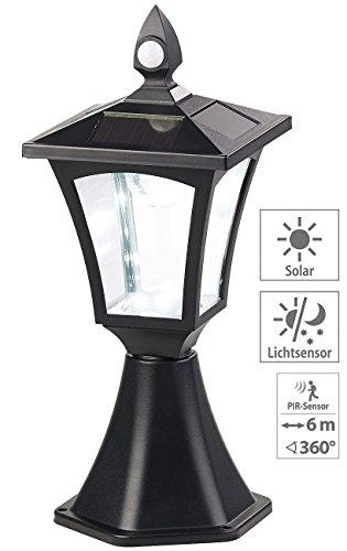 Royal Gardineer Lampen: Solar-LED-Standleuchte, PIR-Sensor, Dämmerungssensor, 100 lm, IP44 (SolarLED Leuchte für Gatensäule)