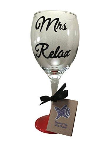 Mrs Relax peinte à la main Verre à vin 340 ml Noir Script Rouge Base