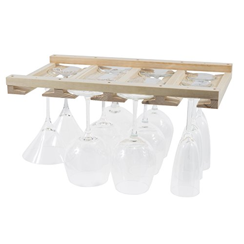 Rustic State Stemware Wine Glass Rack Makes Dull Kitchens or Bar Looks Great Perfectly Fits 6-12 Glasses Under Cabinet Easy to Install with Included Screws Great Hanging Bar Glass Rack Natural