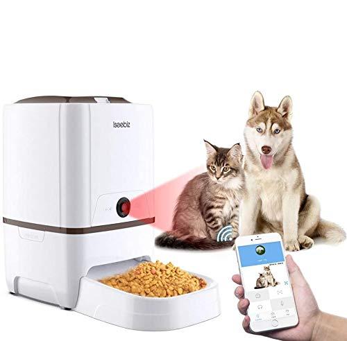 Iseebiz 6L Distributore Automatico Cibo con WiFi Videocamera 720P per Cani e Gatti 6 pasti al Giorno