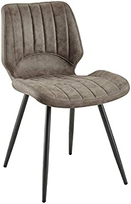 Amazon.com - Dining Chairs Black Metal Legs Bedroom Upholstered ...