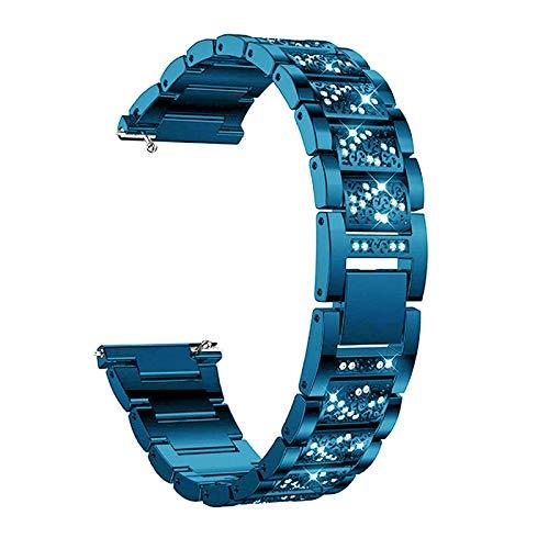 Bandas De Metal Compatible con Versa 3 / Sense, Mujeres Niñas Banda De Acero Inoxidable Correas De Repuesto Pulsera con Purpurina Joyas Compatible con Sense/Versa 3,Azul