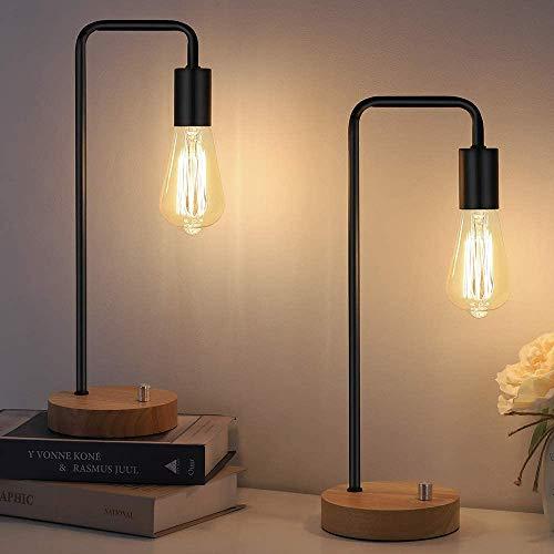 HAITRAL Juego de 2 lámparas de escritorio industriales, bombillas vintage Edison con base de madera, lámpara de oficina retro para...
