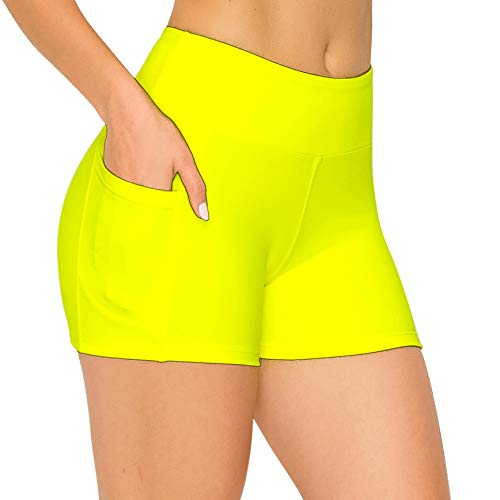 ALWAYS Women's 3' Bike Shorts with Pockets - High Waist Compression Running Workout Athletic Yoga Pants Neon Lime L