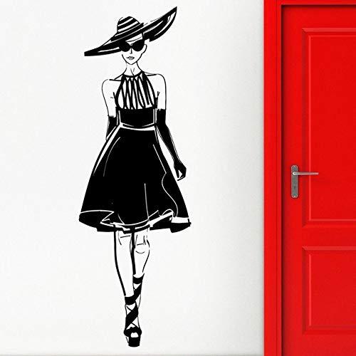 Adhesivo de pared, 42x127 cm, aplique de vinilo Sexy Girl Fashion Show Style Modelo Pasarela Adhesivo de pared Tienda de ropa Centro comercial Decoración del hogar Mural