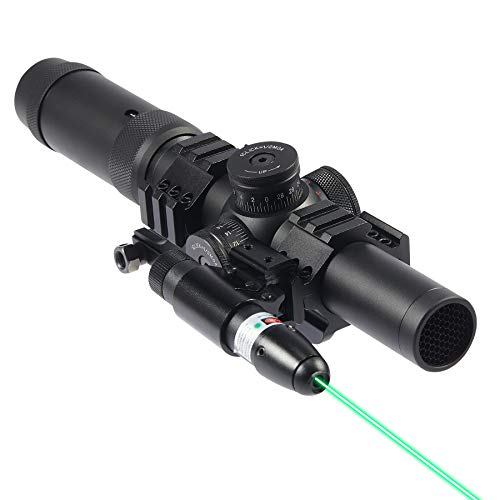 LETRA Scope Combo 1-5x24 SFP Rifle Sight with Green Laser for 20mm Picatinny or Weaver Rail Long Guns & Handguns, Spotting Scope for Airsoft BB Pellet Guns Pistols Shotguns, Rifle Scope for Adults