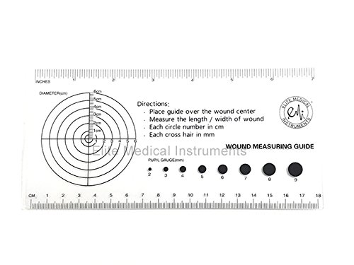 EMI Medical Ruler with Wound Measuring and Pupil Gauge Reference Guide