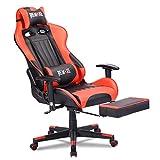 Remaxe Gaming Stuhl Bürostuhl Schreibtischstuhl Computer Spielstuhl, Verstellbares Massage Lendenkissen Einziehbare Fußstütze,Rot