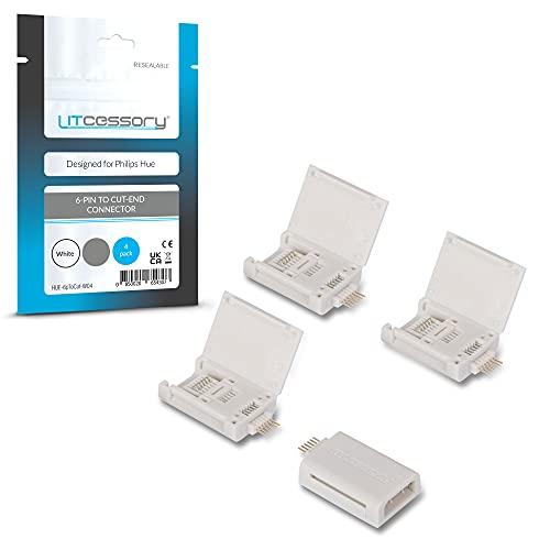Litcessory Conector de 6-Pines a Conector Extremo Cortado para Philips Hue Lightstrip Plus (Paquete de 4, Blanco - MICRO 6-PINES V4)