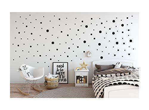 StickerDeen | Pegatinas de vinilo de tamaño mixto con diseño de lunares, decoración extraíble para guardería, ventana, muebles, regalo | (Paquete de 80) (negro)